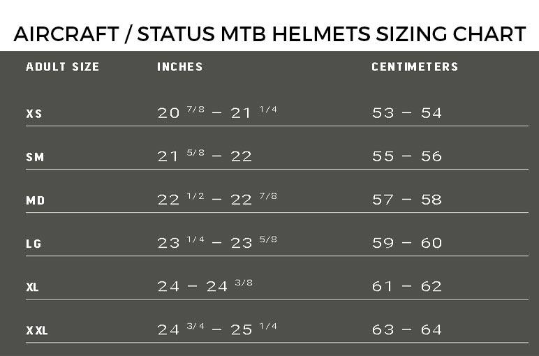 100% Status Helmet Sizing Chart