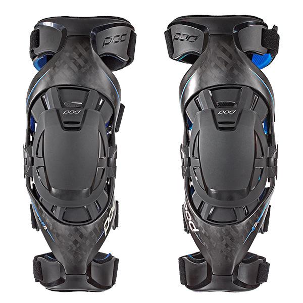 Pod MX - K8 Knee Brace (Pair) - Color:Carbon/Blue Size:S