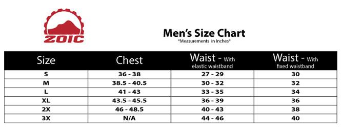 Zoic Size Chart