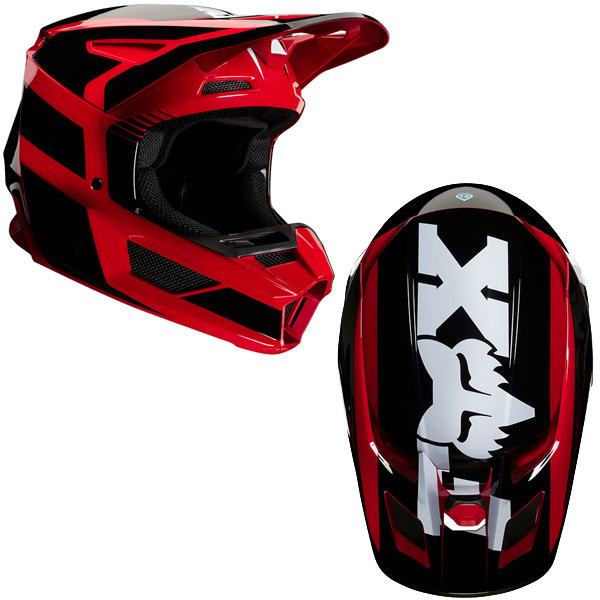 Fox V2 Hayl Helmet in aggressive red/black color styling